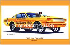 Psycho Pstang   Drag Racing Art Print