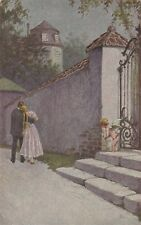 Ins Herz getroffen Künstler-AK M. Berger Amor mit Liebespaar 1804415