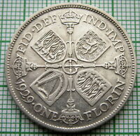 GREAT BRITAIN GEORGE V 1929 2 SHILLINGS - 1 FLORIN, SILVER