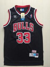 New Chicago Bulls NO.33 Scottie Pippen Black Basketball Jersey Size:S-XXL