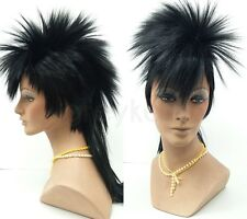 Mens Black Mohawk Wig Punk Rock Long Straight Synthetic Costume
