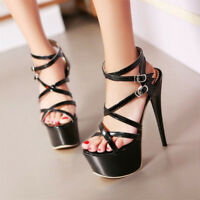 Womens Platform Strappy Peep Toe Stiletto Sandal High Heel Clubwear Pumps Shoes