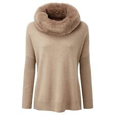 BNWT Pure Collection 100% Cashmere Poncho With Faux Fur Trim UK Size M RRP £229