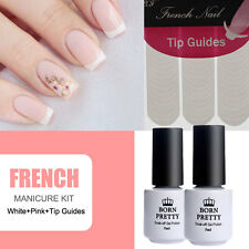 Pink White Nail Polish French Manicure Varnish Kit Set with Nail Tips Guides