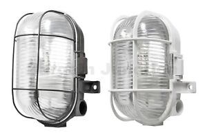 Oval Outdoor Security Bulkhead Light Vandal Resistant Caged Wall Lantern IP44