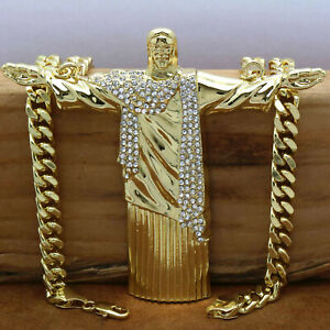 """Hip Hop 14k Gold Plated  Huge  """" JESUS""""  Pendant with 30"""" inch Cuban Chain (H)"""