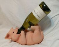DWK Decor Hand Painted Quality Poly-Resin Pig Wine Bottle Holder DWKHD36995