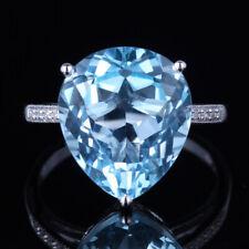 10K WHITE GOLD SKY BLUE TOPAZ PAVE DIAMONDS ENGAGEMENT WEDDING GEMSTONE RING