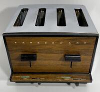 Vintage Farberware 4-Slice Chrome Toaster Wood Grain Model 295