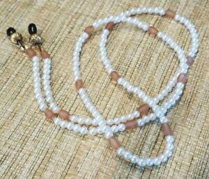 Eyeglass Sun Glass Leash Holder Chain - Faux Pearl & Light Topaz Glass Beads