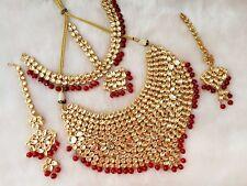 New Meena Kundan GoldPlated Bridal Designer Meenakari Necklace set Earring Tika