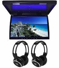 "Tview T244Ir 24"" Black Wide Screen Car Flip-Down Monitor +2 Wireless Headsets"