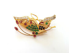 14k Real Gemstones and diamonds Butterfly Pin