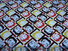 3 Yards Quilt Cotton Fabric- Camelot Betty Boop Diamonds Red Black Yellow White