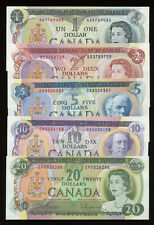 1969 - 1975 Bank of Canada SET of 5 Notes $1, $2, $5, $10, $20 Dollars (AU-UNC)