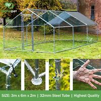 3m x 6m Chicken Run Coop Cage Pen Waterfowl Enclosure for Pets Hens Dogs Poultry