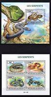 BURUNDI 2013 - LES SERPENTS SNAKES REPTILES AMPHIBIANS PYTHON REGINA FAUNA MNH**
