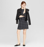 Women's Plaid Elbow Sleeve Crewneck Crepe Dress -A New Day -Black/White -XL-S455