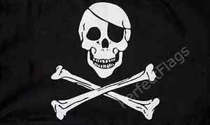 SKULL AND CROSSBONES FLAG - PIRATE AND SKULL FLAGS - Size 3x2, 5x3, 8x5 Feet