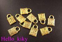 100Pcs Antiqued gold plt ornate padlock charms 13x8mm A90