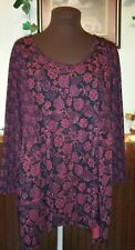 Women's Plus Size Tunic Blouse Size 3X 30-32 Floral L/S Red/Black ELEGANCE 💖