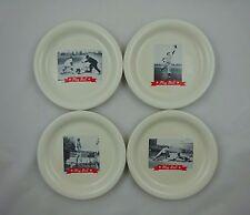 "Pottery Barn Play Ball ~ Set of 4 Plates / Dishes ~ Vintage Baseball Photos ~ 8"""