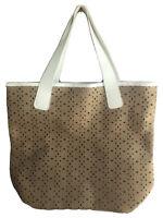 New Women's SAKS FIFTH AVENUE Tote Shopper Shoulder Bag Handbag Tan