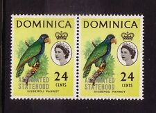 BIRDS on Stamps....  Dominica  1968 24c STATEHOOD etc  pair mnh