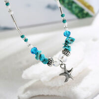 Boho Starfish Turquoise Starfish Beads Anklet Beach Sandal Ankle Gift Bracelet