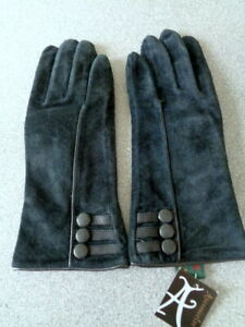 New Accessorize Barley by Fennec Blue Genuine Suede Leather Gloves M