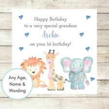 PERSONALISED Birthday Card Boy Son Nephew Brother Grandson 1st 2nd 3rd Animals