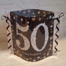 Deko-Windlicht aus Servietten-Happy Birthday-50.GEBURTSTAG-Band schwarz/silber