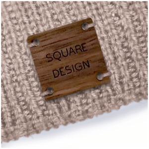 Custom Walnut SQUARE Tags 20mm x 20mm Wooden Handmade Knitted Crochet - 050