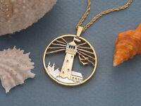 "Lighthouse Nautical Coin Pendant Necklace. Hand cut. 1-1/8""diameter, ( # 759 )"