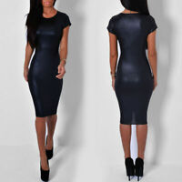 New Womens Ladies Cap Sleeved Wet Look Bodycon Party Midi Dress 8-26