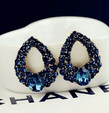 #1235 Hot Sale Women's Luxury Temperament Blue Crystal Waterdrop Stud Earrings