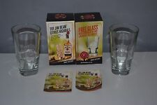 2x Jim Beam Tumbler Heavy Mixers Glasses Tall Hi Ball Bourbon Whisky Embossed