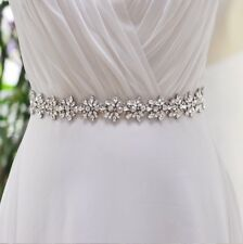 Bridal Wedding Bridesmaid Dress Sash Crystal Rhinestone Appliqué For Waist Belt