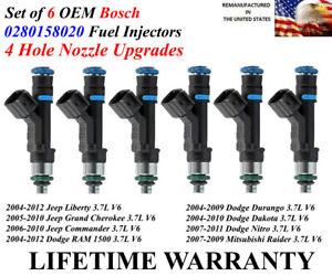 4 Hole Upgrades 6 OEM Bosch OEM Fuel Injectors For 2004-2012 Jeep Liberty 3.7L