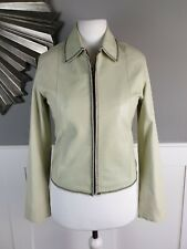HIDE PARK Womens Leather Jacket Small UK 10 Cream Zip Front Coat Immaculate