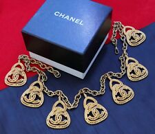 Chanel Vintage Gold Tone Necklace with Seven Woven Medallions