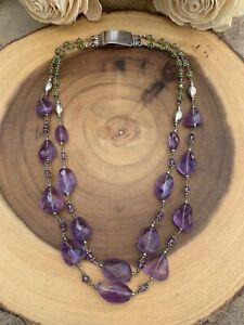 Vintage Double STRAND STERLING SILVER AMETHYST And PERIDOT NECKLACE