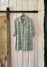 Vintage Green Floral Stripe 100% Silk Aloha Shirt by Fieldgear size XL Tall