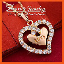 9K ROSE GOLD GF P214 DIAMONDS INFINITY HALO HEART SOLID 'LOVE' NECKLACE PENDANT