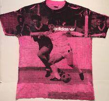 Vintage 90s Adidas All Over Print Shirt Soccer Sz L Fresh Prince Tie Dye OG Pink