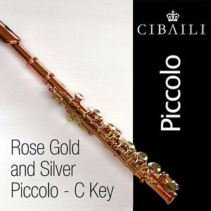 CIBAILI Rose Gold and Silver-Plated PICCOLO • Complete with Case • BRAND NEW •