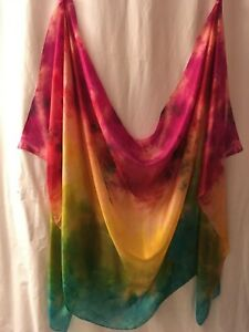 Belly dance costume  veil silk hand-dyed in US: multicolored