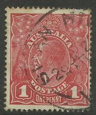 AUSTRALIA KGV KING GEORGE V One Penny Red 1d Single Watermark Used (No 82)