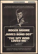 THE SPY WHO LOVED ME__Orig. 1976 Trade AD / poster__Prod. Starts__JAMES BOND 007