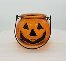 Jack-O-Lantern Pumpkin Glass Candle Holder Halloween-Votive-Tea Light